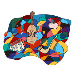 musical instruments colorful abstract vector image