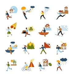 Natural Disasters Escape Images Set vector
