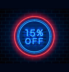 Neon 15 off text banner night sign vector