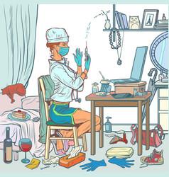 nurse doctor vaccinates online via internet vector image