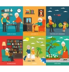 Old People 6 Flat icons Banner vector