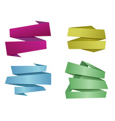 origami banner ribbons vector image