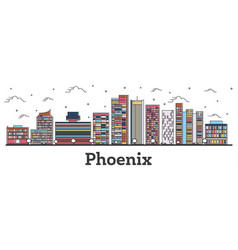outline phoenix arizona city skyline with color vector image