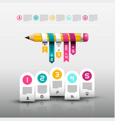 pencil with paper labels web design layout vector image