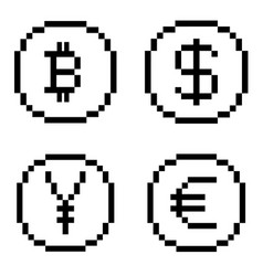 Pixel bw icons set vector
