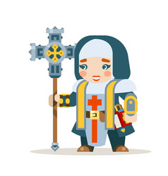 priest female warrior fantasy medieval action rpg vector image