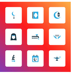 Ramadan icons colored set with holiday star holy vector