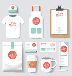restaurant cafe set flyer menu package t-shirt vector image