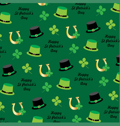 saint patricks day hats and horseshoe pattern vector image