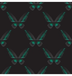 Seamless pattern with green-black butterfly vector