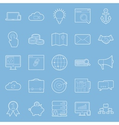 Seo and e-marketing thin lines icon set vector image