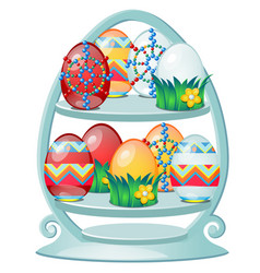set colorful easter eggs with patterns on a vector image
