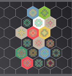 Set in oriental style on hexagons background vector