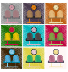 Set of flat icons in shading style airport waiting vector
