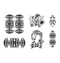 Set of patterns in black and white vector image