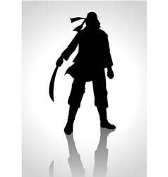 Silhouette of a man holding a sabre vector