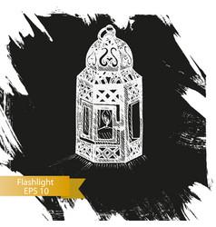 sketch - flashlight vintage vector image