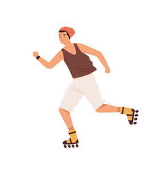 Smiling male teenager roller skating outdoors vector
