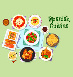 spanish cuisine dinner menu with dessert icon vector image