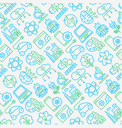 technologies seamless pattern with thin line icons vector image