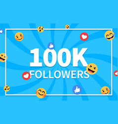 Thank you 100 000 followers background vector