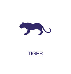 tiger element in flat simple style on white vector image