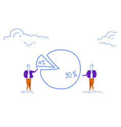 Two businessmen pie diagram getting inequality vector