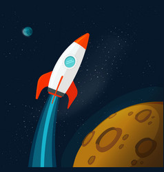 Universe or outer space with planets and rocket vector