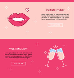 valentines day concept banner templates in line vector image