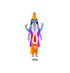 Vishnu indian god cartoon character vector