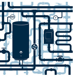 Water system with boiler and pipes vector