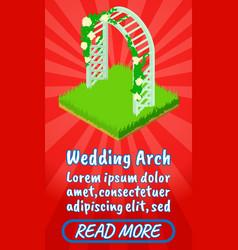 Wedding arch concept banner comics isometric vector