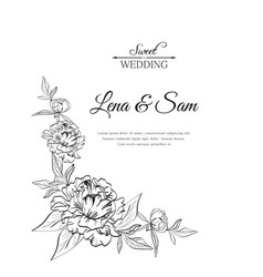 wedding card with peony flowers and words happy vector image