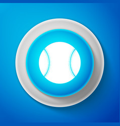 white baseball ball icon on blue background vector image