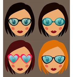 Woman in glasses set vector image