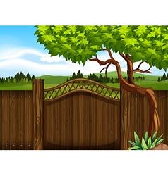 Wooden fence in the garden vector