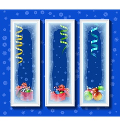 Christmas toys in the framework covered with frost vector image vector image