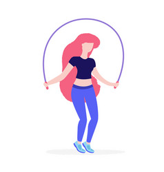 girl jumps with jumping rope flat vector image