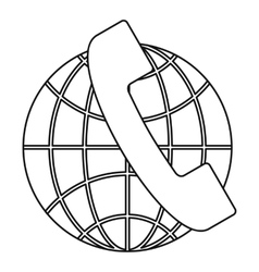 Global communications icon outline style vector image