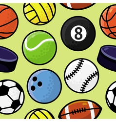 seamless pattern with sport balls vector image vector image