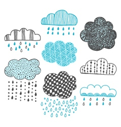 set of hand drawn doodle clouds vector image