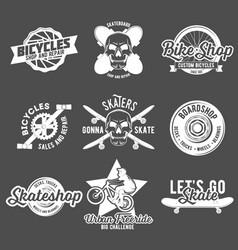 set of vintage biking and skating badges vector image