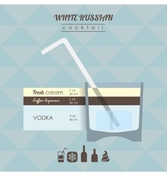 white russian cocktail flat style vector image