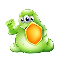 A brave greenslime monster holding a shield vector image