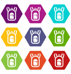 backpack icon set color hexahedron vector image