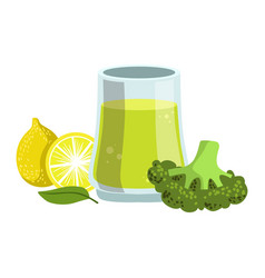 broccoli and lemon smoothie non-alcoholic fresh vector image vector image