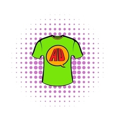Green shirt with ad letters icon in comics style vector