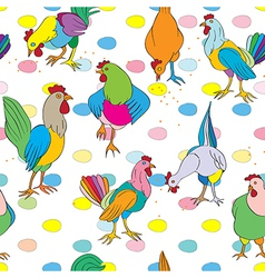 hen and cock vector image vector image