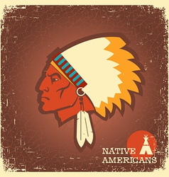 Native American man portrait vector image vector image