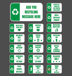 recycle labels set vector image vector image